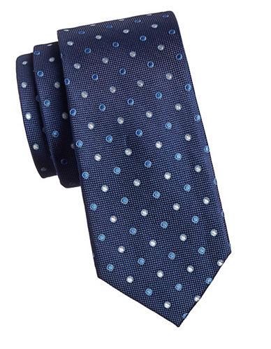 Izod Dotted Silk Tie-NAVY-One Size