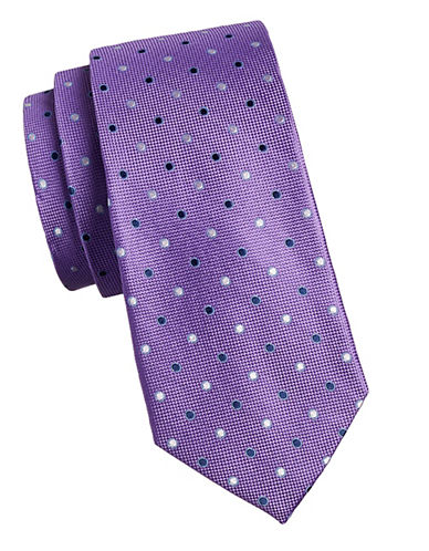 Izod Dotted Silk Tie-PURPLE-One Size