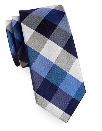 Izod Buffalo Check Silk Tie-BLUE-One Size