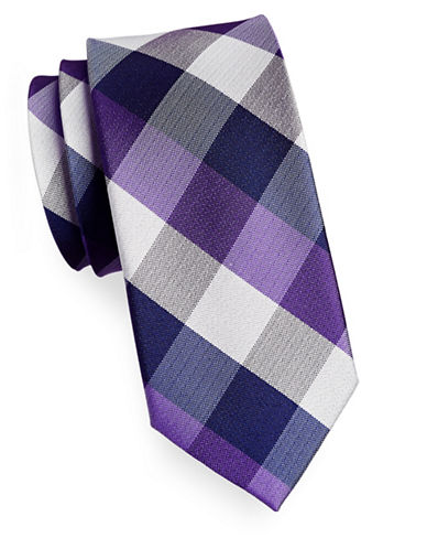 Izod Buffalo Check Silk Tie-PURPLE-One Size