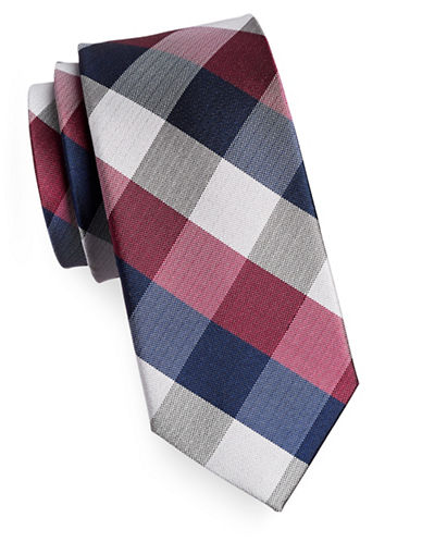 Izod Buffalo Check Silk Tie-RED-One Size