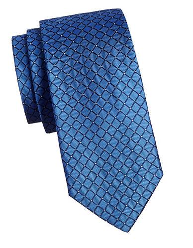 Izod Grid Silk Tie-BLUE-One Size