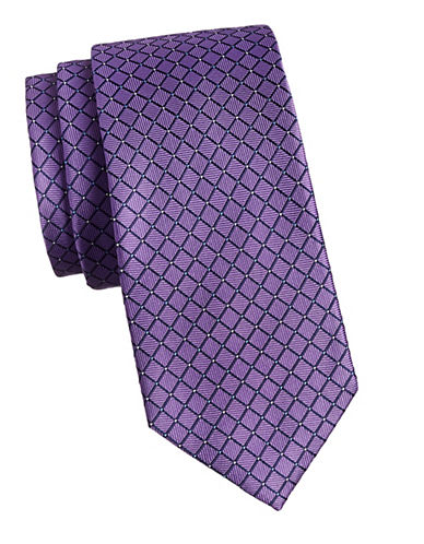 Izod Grid Silk Tie-PURPLE-One Size