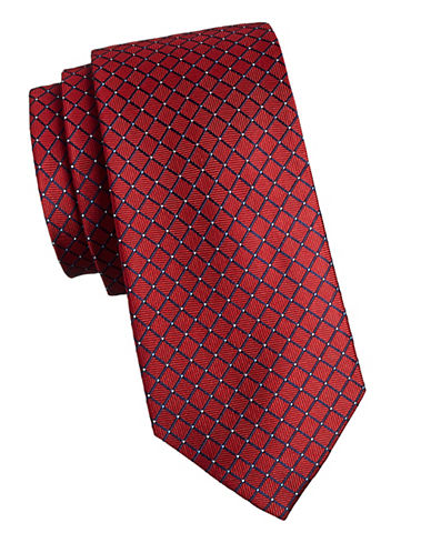 Izod Grid Silk Tie-RED-One Size