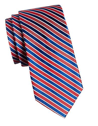 Izod Striped Silk Tie-RED-One Size