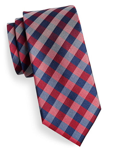 Izod Gingham Silk Tie-RED-One Size