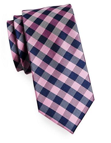 Izod Gingham Silk Tie-PINK-One Size