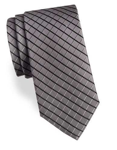 Arrow Two-Tone Grid Silk Tie-CHARCOAL-One Size