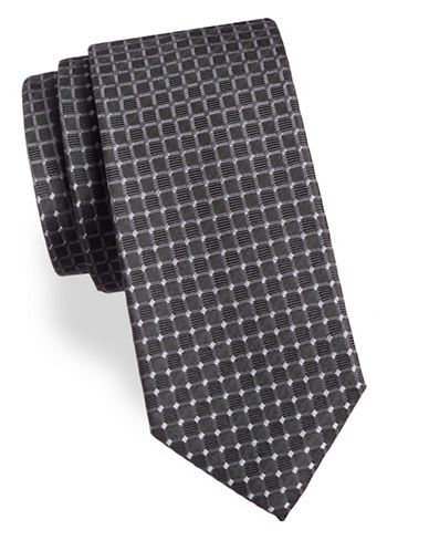 Arrow Grid Silk Tie-CHARCOAL-One Size