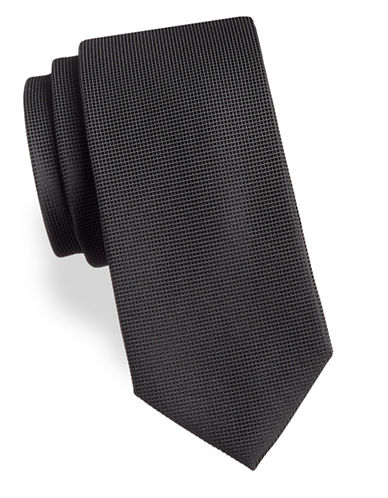 Arrow Textured Silk Tie-CHARCOAL-One Size