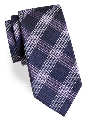 Arrow Plaid Silk Tie-PURPLE-One Size