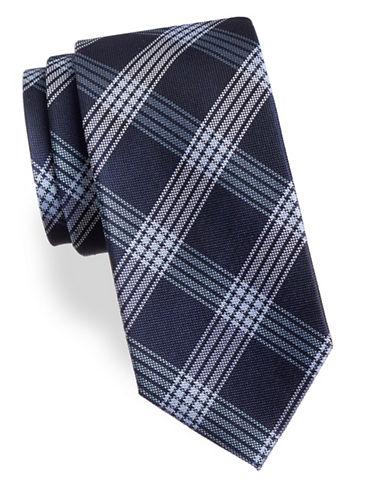 Arrow Plaid Silk Tie-BLUE-One Size