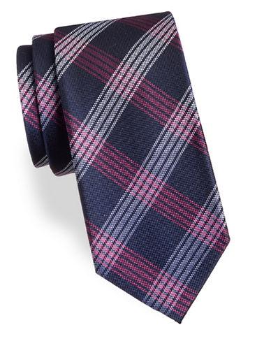 Arrow Plaid Silk Tie-PINK-One Size