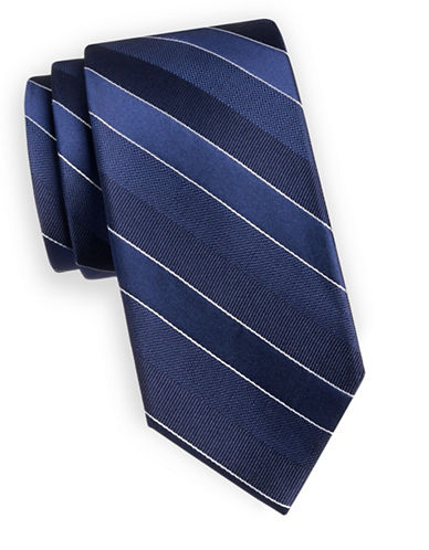 Arrow Diagonal Stripe Silk Tie-NAVY-One Size