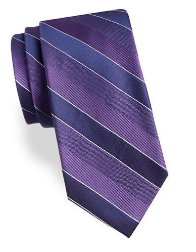 Arrow Diagonal Stripe Silk Tie-PURPLE-One Size