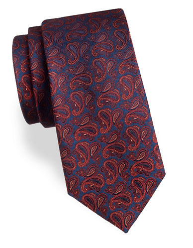 Arrow Paisley Silk Tie-RED-One Size