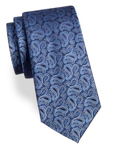 Arrow Paisley Silk Tie-BLUE-One Size