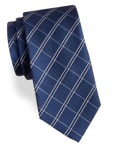 Arrow Wide Grid Silk Tie-BLUE-One Size