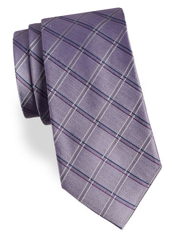 Arrow Wide Grid Silk Tie-PURPLE-One Size