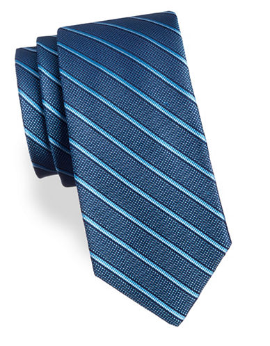 Arrow Stripe Silk Tie-AQUA-One Size