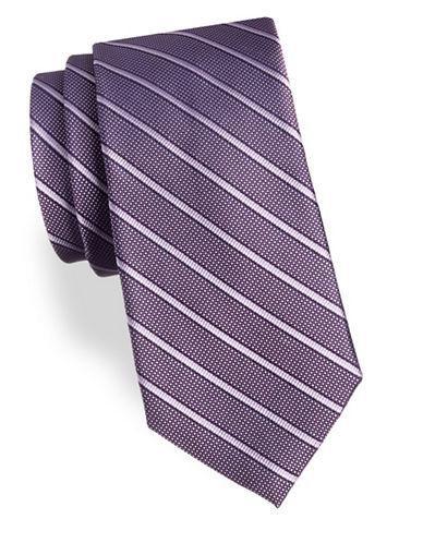 Arrow Stripe Silk Tie-PURPLE-One Size