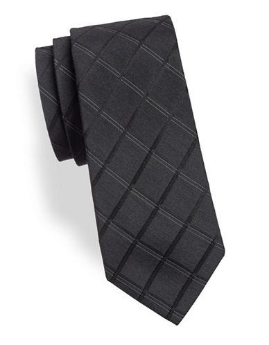 Calvin Klein Silk-Blend Grid Tie-BLACK-One Size