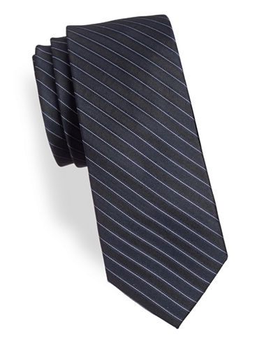 Calvin Klein Silk Striped Tie-BLUE-One Size