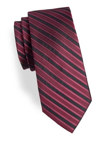 Calvin Klein Silk Striped Tie-PINK-One Size
