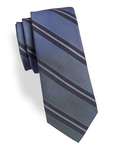 Calvin Klein Balanced Striped Silk-Blend Tie-BLACK-One Size