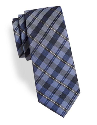 Calvin Klein Plaid Silk-Blend Tie-NAVY-One Size