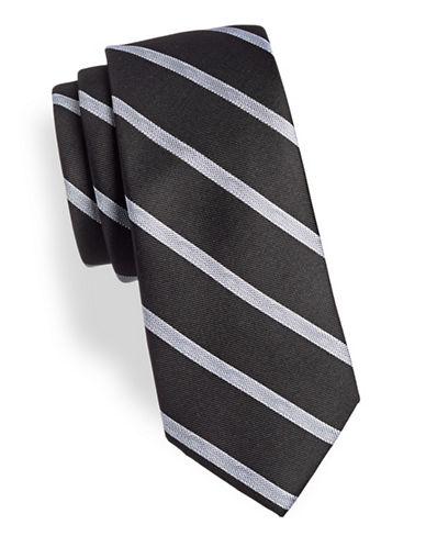Calvin Klein Neat Striped Silk-Blend Tie-BLACK-One Size