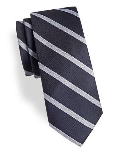 Calvin Klein Neat Striped Silk-Blend Tie-NAVY-One Size