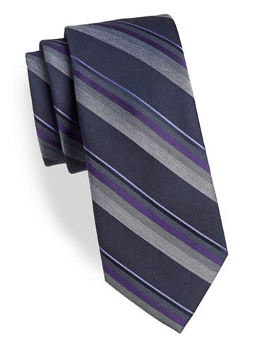 Calvin Klein Stripe Silk-Blend Tie-PURPLE-One Size