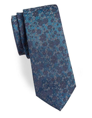 Calvin Klein Floral Silk-Blend Tie-TEAL-One Size