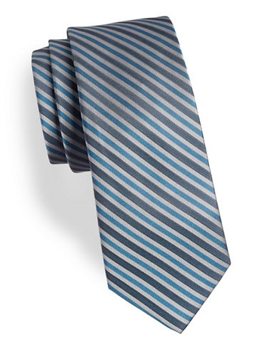 Calvin Klein Striped Silk Tie-TEAL-One Size