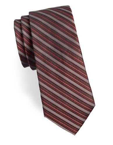 Calvin Klein Striped Silk Tie-ORANGE-One Size