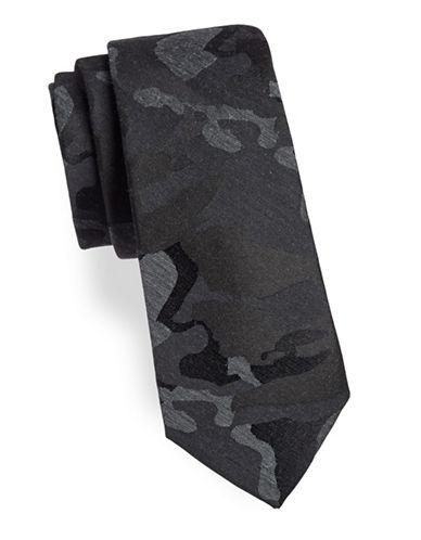 Calvin Klein Camo Silk-Blend Tie-BLACK-One Size