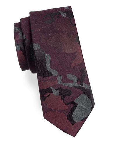 Calvin Klein Camo Silk-Blend Tie-RED-One Size