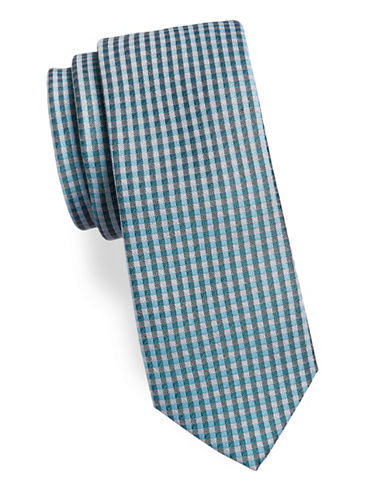 Calvin Klein Gingham Silk-Blend Tie-BLUE-One Size