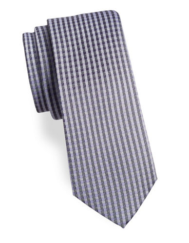 Calvin Klein Gingham Silk-Blend Tie-PURPLE-One Size