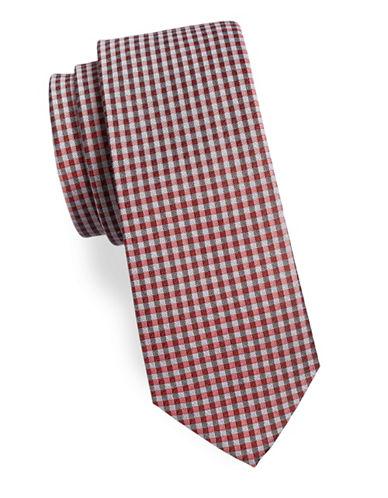Calvin Klein Gingham Silk-Blend Tie-ORANGE-One Size