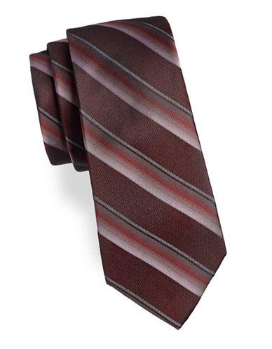 Calvin Klein Striped Silk Tie-RED-One Size