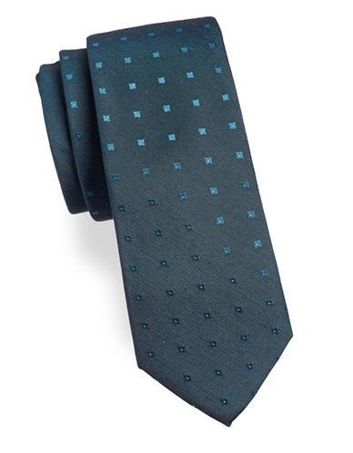 Calvin Klein Dotted Silk-Blend Tie-TEAL-One Size