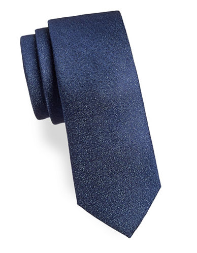 Calvin Klein Speckled Silk-Blend Tie-NAVY-One Size