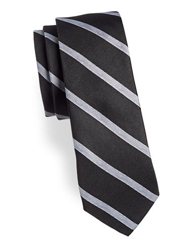 Calvin Klein Classic Silk-Blend Striped Tie-BLACK-One Size