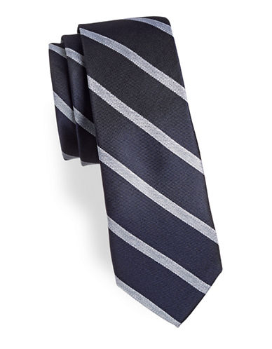 Calvin Klein Classic Silk-Blend Striped Tie-NAVY-One Size