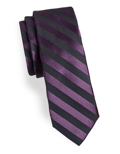 Calvin Klein Striped Silk-Blend Slim Tie-PURPLE-One Size