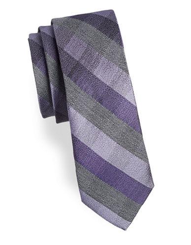 Calvin Klein Check Slim Tie-PURPLE-One Size