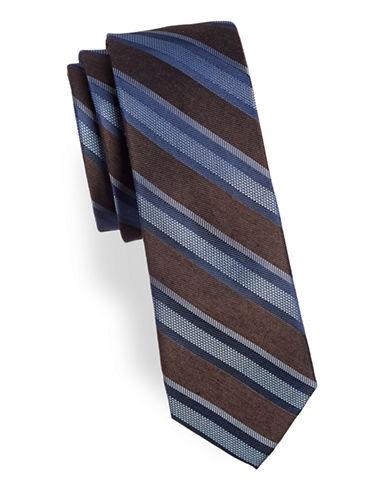 Calvin Klein Striped Silk-Blend Tie-BROWN-One Size