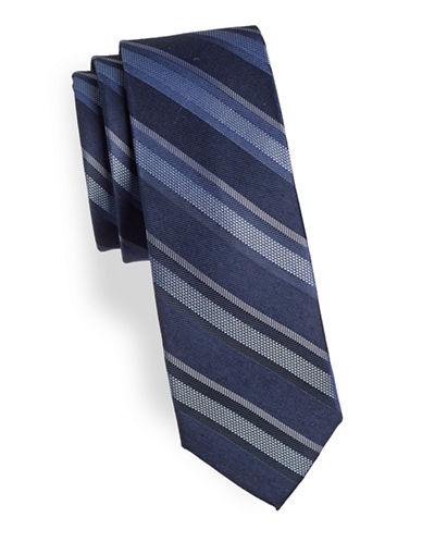 Calvin Klein Striped Silk-Blend Tie-BLUE-One Size